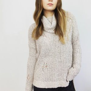 Express High Low Distressed Turtleneck Sweater